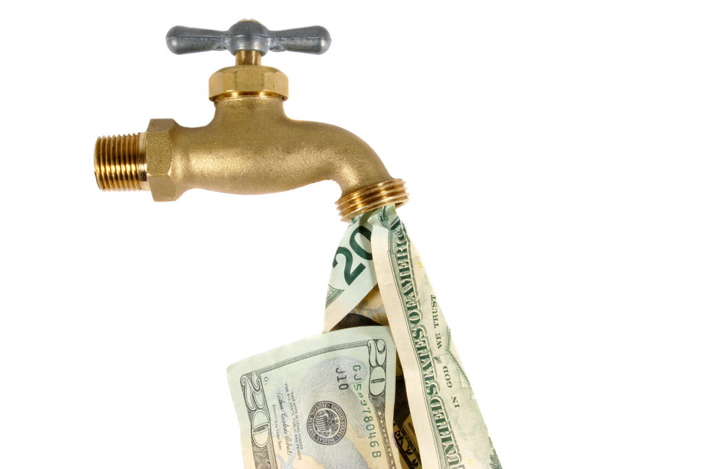 289672 bytes; 1690 x 1124; Water tap dripping dollar bills, Water waste concept