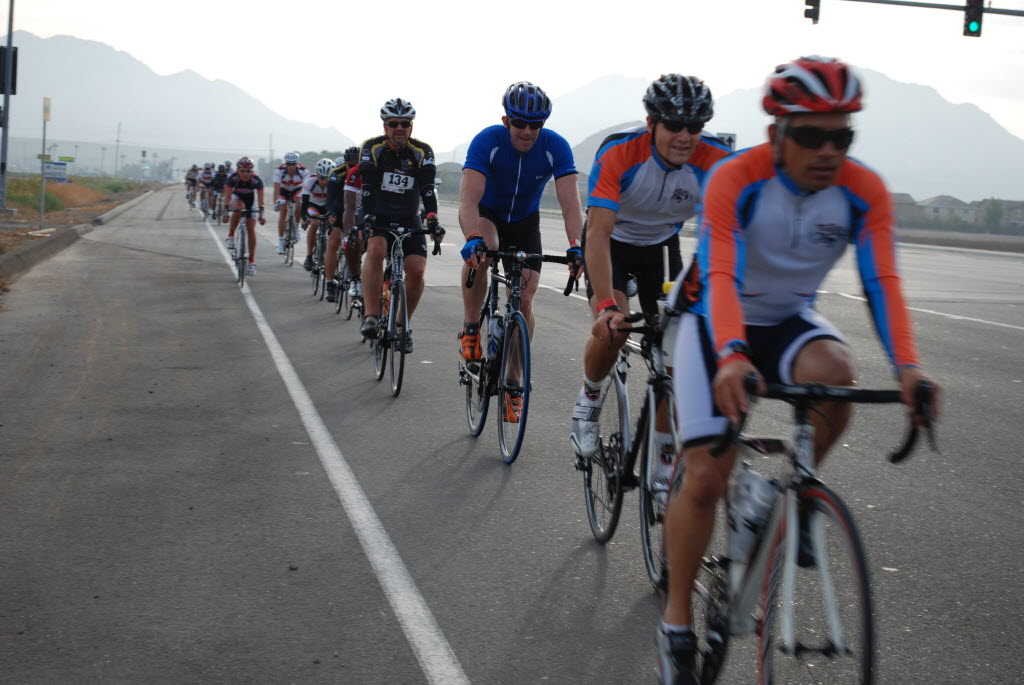 728758 bytes; 3872 x 2592; A string of riders enters the Lake Perris State Recreation Area early in the Tour De Perris.
