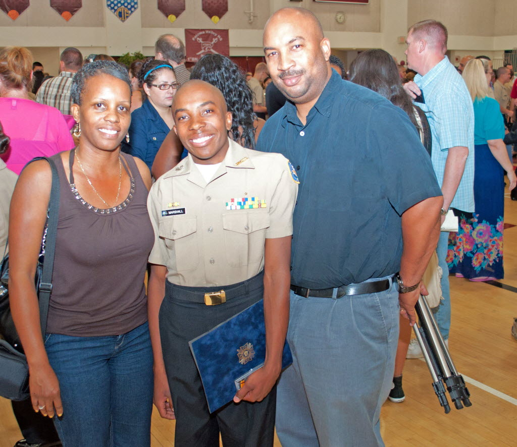 762962 bytes; 2678 x 2318; VFW awardee and Paloma Valley High School student Barnard Marshall with his parents during an awards