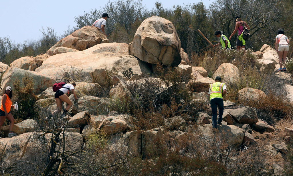1114693 bytes; 3222 x 1937; Volunteers spread out to search a field off of Scott Rd. for Terry Dewayne Smith,11 in Menifee, July