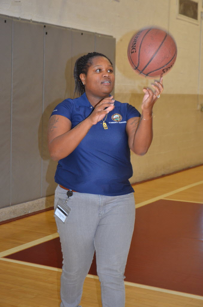 945453 bytes; 3264 x 4928; Perris recreation employee Paulnesha Magree is coordinating the Sept. 21 basketball skills camp at t