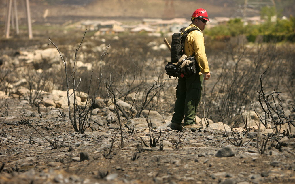 4404588 bytes; 3504 x 2184; Captain Mike Seymour, from the Stanislaus National Forest, looks for hot spots from the Etiwanda Fir